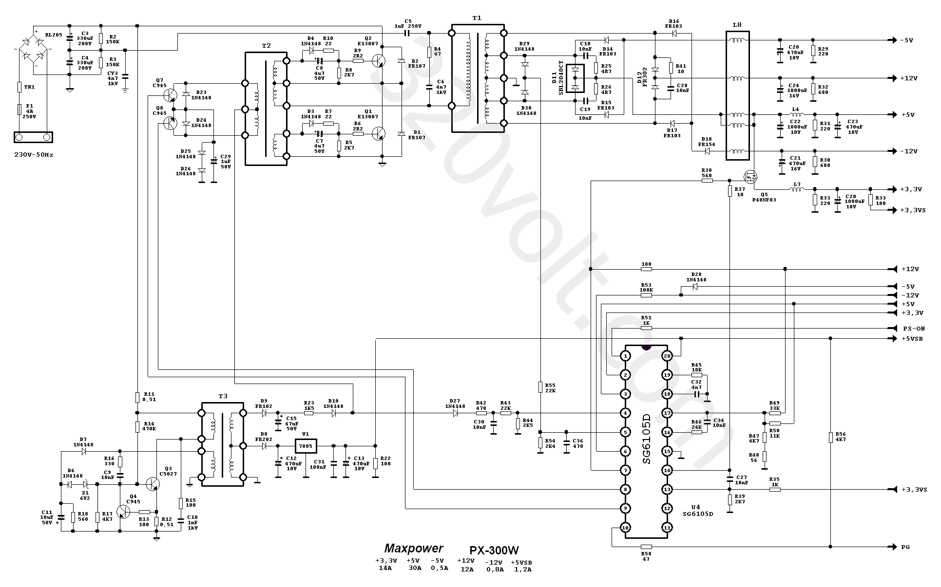 Atx At Smps Circuit Schematic Dna1005a Maxpower Px 300w
