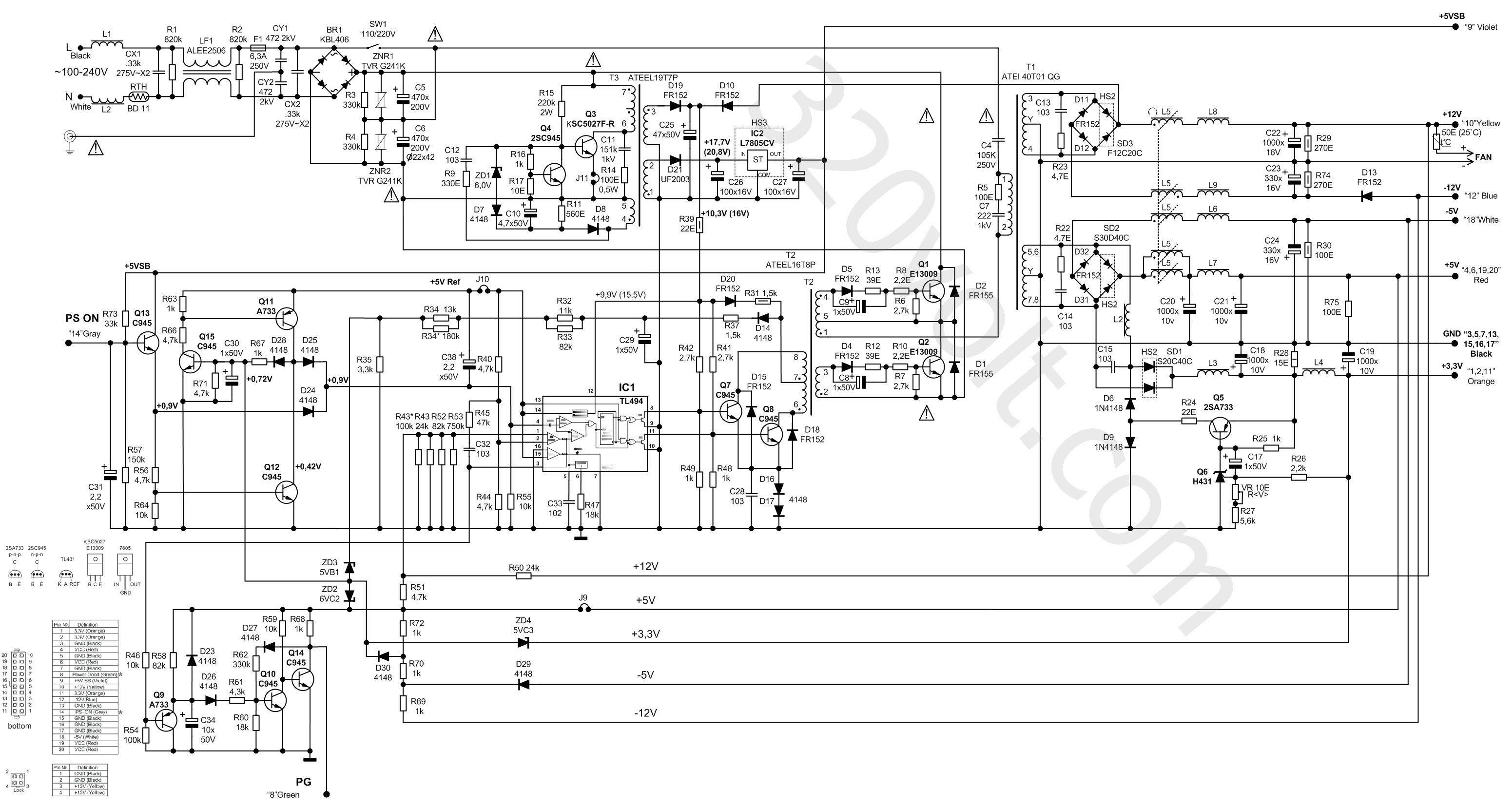 Wiring Diagram Atx Switching Power Supply Circuit Diagram Smps Tl494 Octek X25d 250w Elektronik