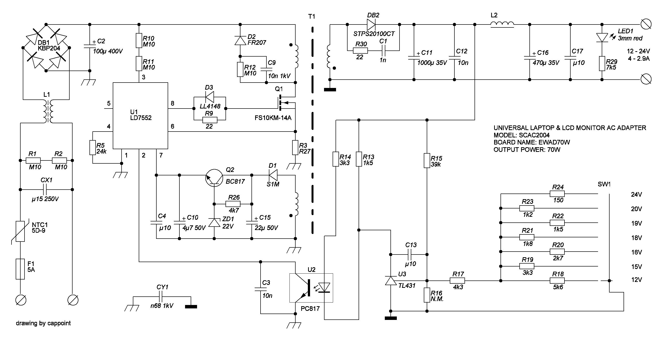 Блок питания ноутбук принципиальная схема 64