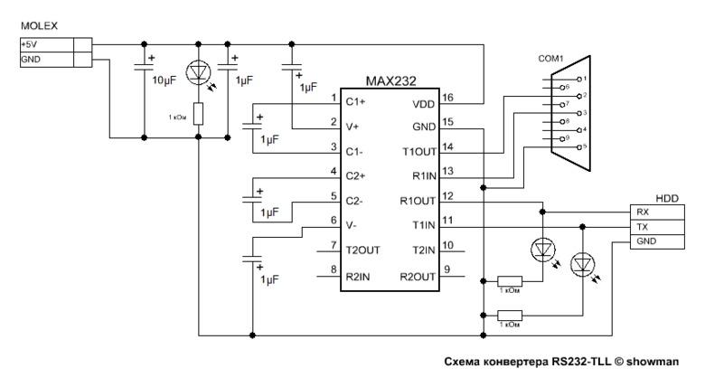 Схема переходника COM RS232 в