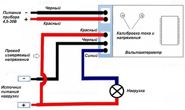 Схема подключения китайского амперметра с тремя проводами