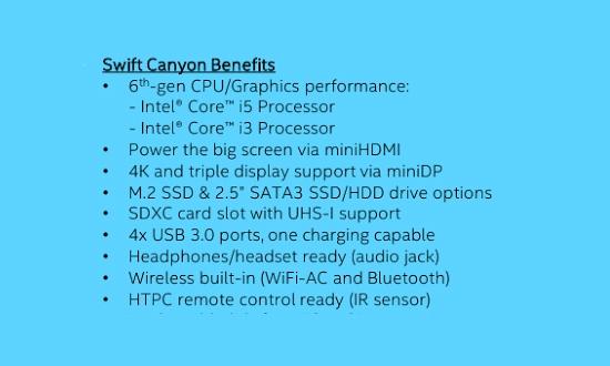 Характеристики неттопа Intel NUC на платформе Skylake