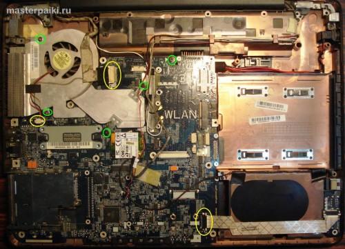 под крышкой ноутбука Toshiba Satellite A200
