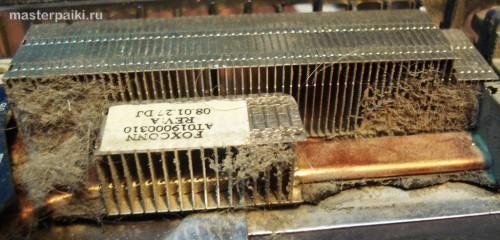 пыль в радиаторе охлаждения ноутбука Toshiba Satellite A200
