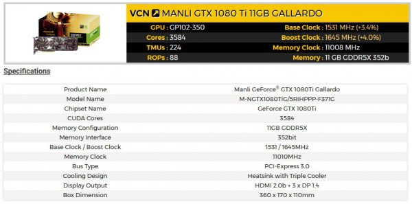 Manli GeForce GTX 1080 Ti Gallardo