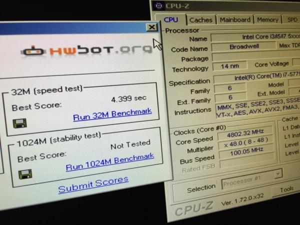 Скриншот из CPU-Z и SuperPi