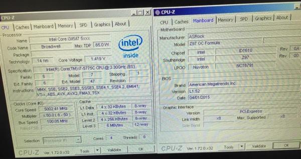 Скриншот CPU-Z
