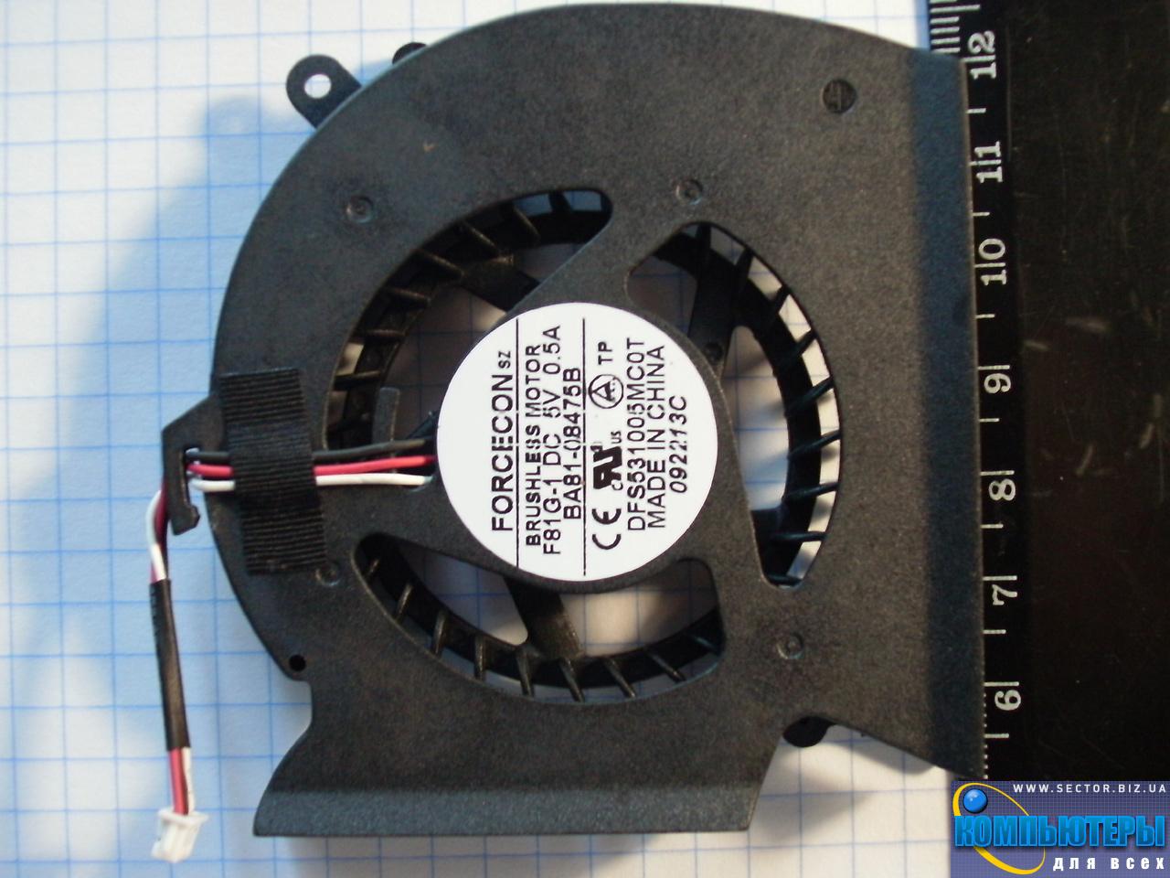 Кулер к ноутбуку Samsung R620 R580 RV508 RV510 p/n: DFS531005MC0T F81G-1. Фото № 5.