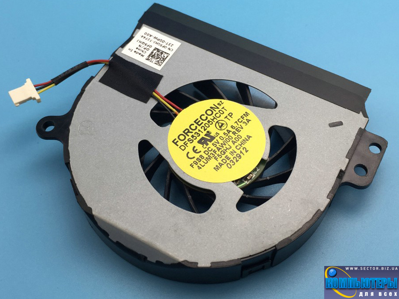 Кулер к ноутбуку Dell Inspiron 1464 1564 1764 P07E P08F P09G p/n: DFS531205HC0T F9S8. Фото № 2.