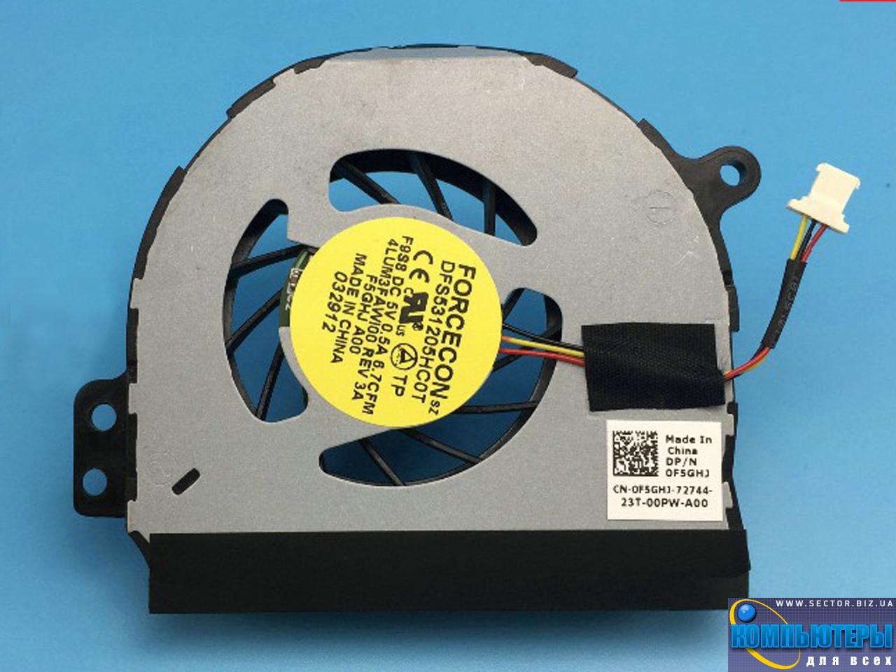 Кулер к ноутбуку Dell Inspiron 1464 1564 1764 P07E P08F P09G p/n: DFS531205HC0T F9S8. Фото № 3.